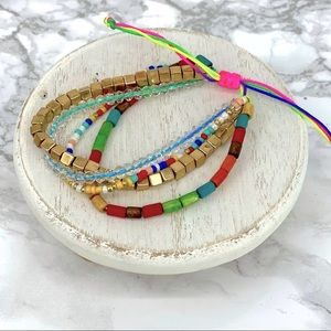 New! Layered beaded bracelet set with neon toggle